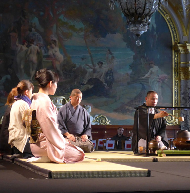 Chanoyu Japanese tea ceremony performed by a tea master in Monaco