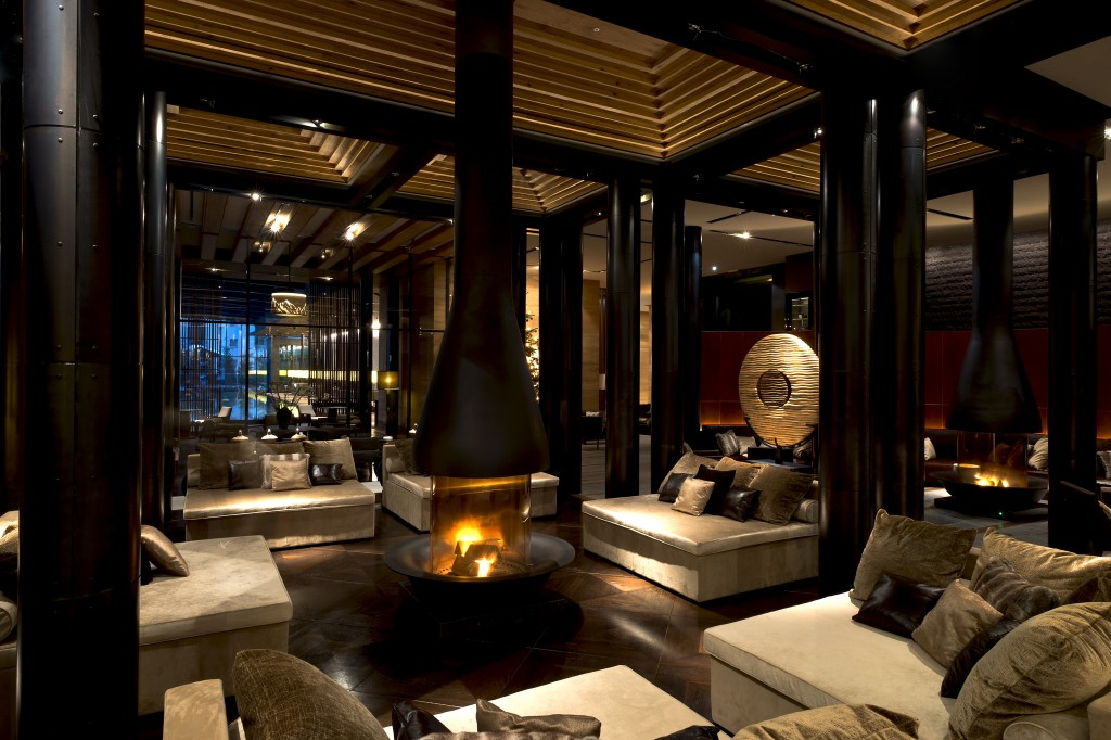 The Lobby of Chedi hotel with lap pool view