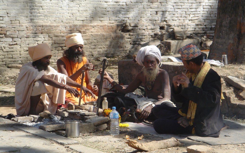 yogis smoking hashish in Nepal