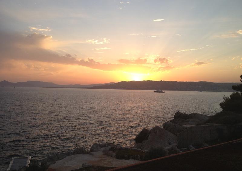 Mediterranean sunset when hiking Côte d'Azur