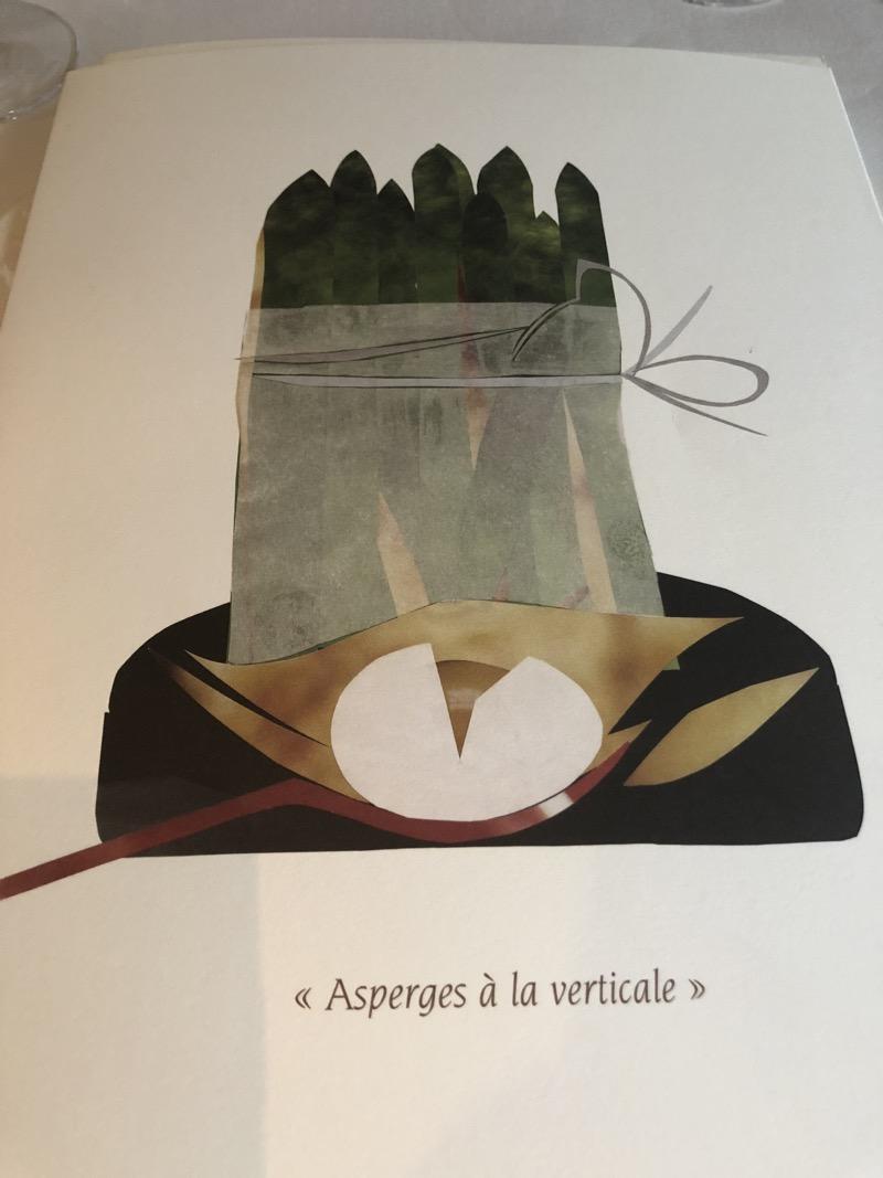 Art menu at Alain Passard