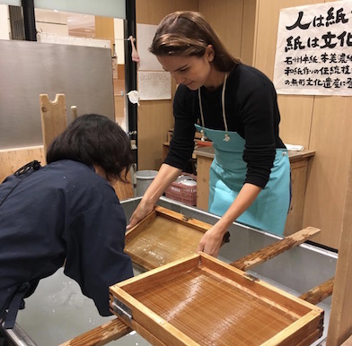 Making traditional washi paper in Japan